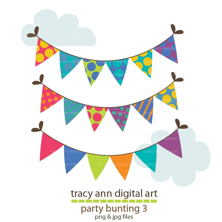 Party Bunting Clip Art Party Banners By TracyAnnDigitalArt
