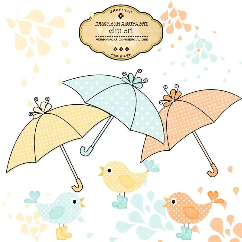 CLIP ART Royalty Free Umbrellas birds in boots and splashes