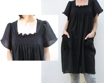 Custom Made Black Soft Cotton Smock Neck Short Tunic Dress  Boho Blouse S-XL  (H)