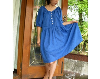 Custom Made Blue Orchid Cotton Loose  Simply Tunic  Dress S-L (H)