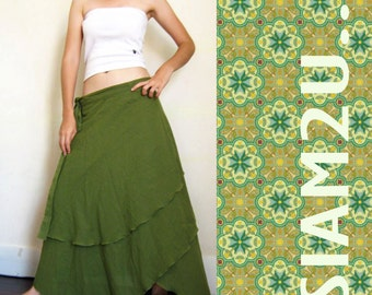 Custom Made Hippie Gypsy Green Cotton Two Layers   Biased  Circle  Long Wrap Skirt  S-L  (H)