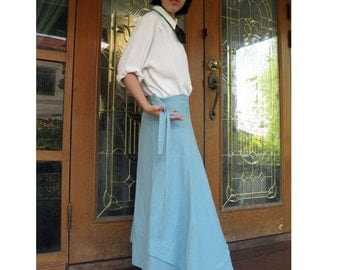 Boho Hippie Gypsy Blue Cotton Long  Circle Wrap Skirt  S-L (C1)