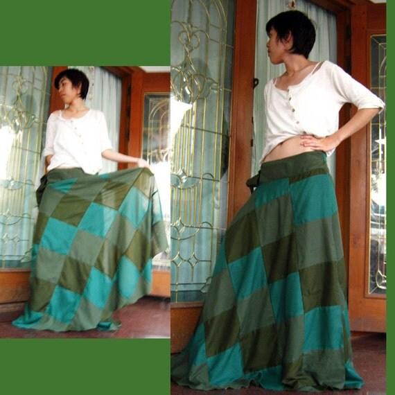 Green  Chessboard Patchwork Wrap Skirt