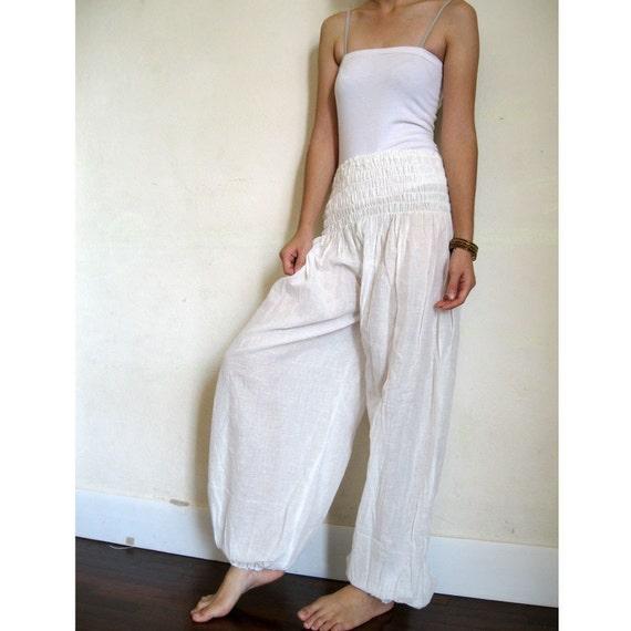 Boho Hippie White Soft Cotton Comfy Pants S M L XL ( one fit all most)