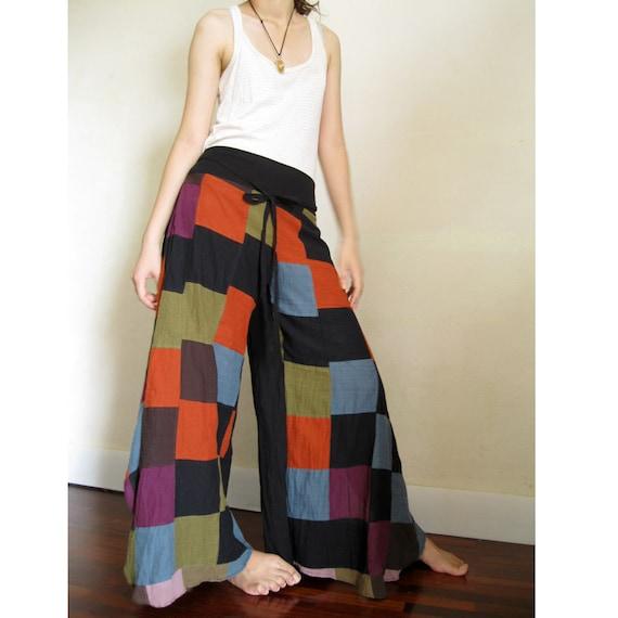 Boho Hippie Gypsy Patchwork  Multi cotton Wild Leg  Pants S - L