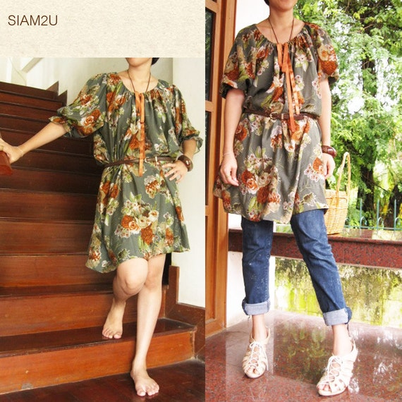 Sale 15 % off Green  Floral  Blouse Dress one fit all most (S 2)