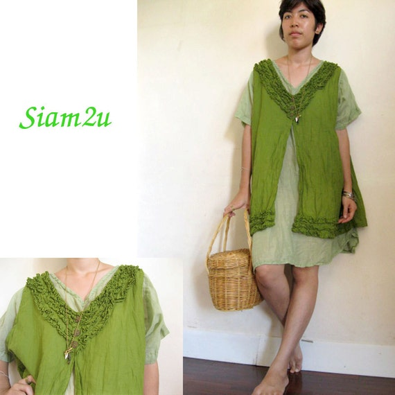 Boho Hippie V -Neck Two Layers Cotton Dress S - XL