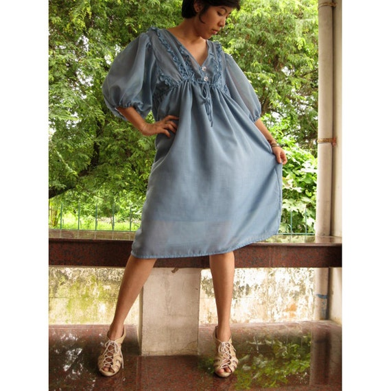 Sale 50 % off  Blue soft and sheer cotton Sweet Dress S M L XL (one fit all most)