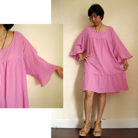 Custom Made Pink Soft Cotton  Simple Summer  Loose Tunic  Dress  S-L (H)