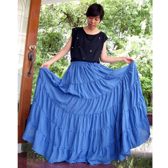 Custom Made Boho Hippie Dogger Blue Cotton Long Ruffle elastic Waist  Skirt  S-L (H)