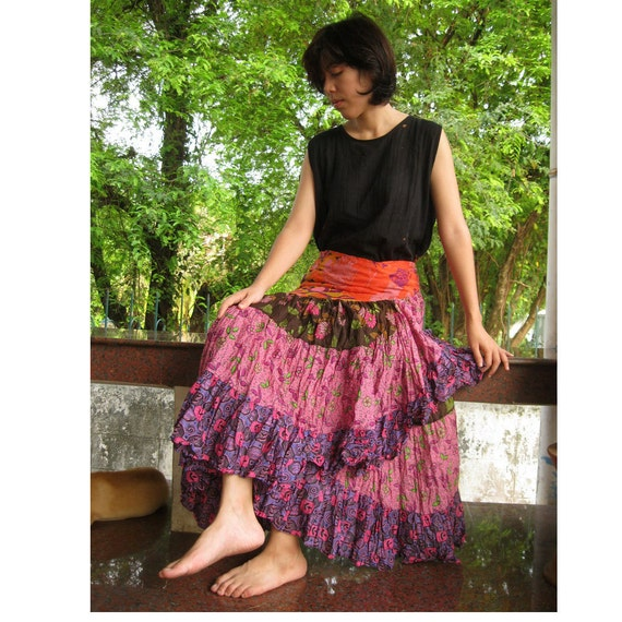 India Floral Cotton Ruffled Wrap Skirt S-L (W04)