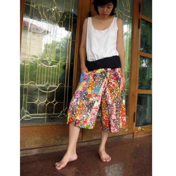 Floral cotton patchwork short Thai fisherman pants 01