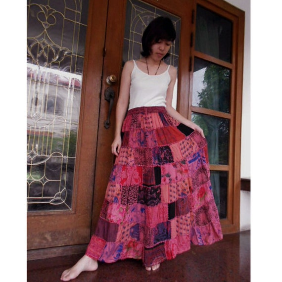 Sale 15 % off India Cotton Patchwork Elastic waist Long Skirt or Maxi Dress (Y)
