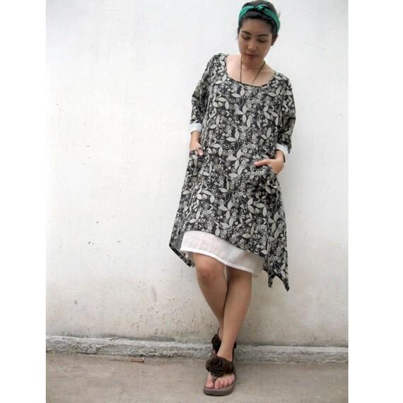 Two layers  Black floral cotton Dress..Blouse M-XL