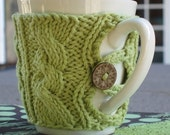 Sage Hand Knit Cabled Wrap with Mug