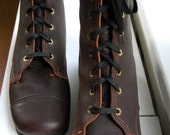 Vintage CHOCOLATE Justin style Lace up Ankle Boots