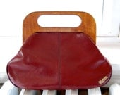 Vintage 1970s John Romain Burgundy Leather Clutch Purse