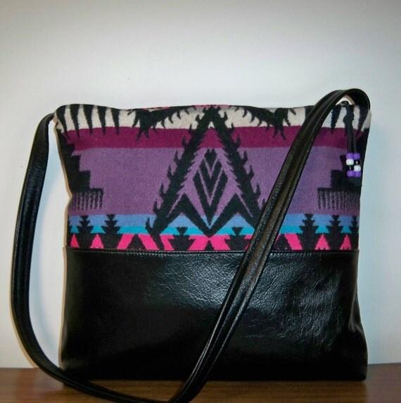Pendleton Wool Black Leather Purse Messenger Shoulder Bag Large