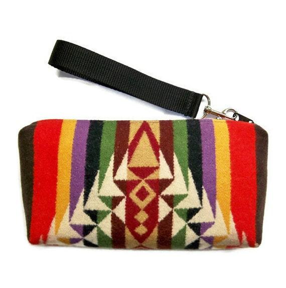 Pendleton Wool Purse Wrist Bag Clutch Colorful