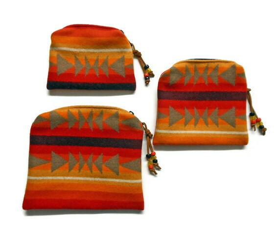 Trio Pendleton Wool Purse Organizer Bags Zippered Pouches