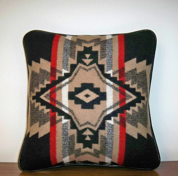 Pendleton Blanket Weight Wool Pillow Decorator Throw Lodge Tan Black