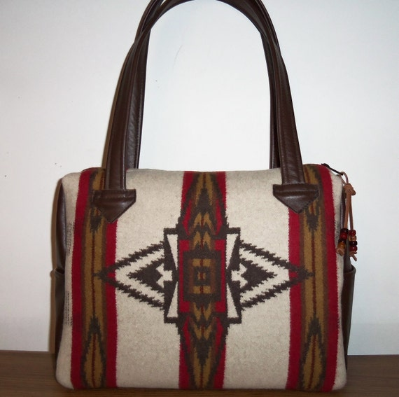 Pendleton Wool Purse Handbag Shoulder Bag Brown Leather