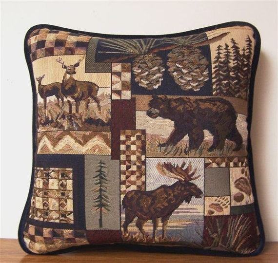 Moose Bear Deer Tapestry Pillow Lodge Cabin