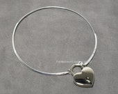 Sterling Silver Discreet Neckwire Collar With Padlock  -  (COL 145)