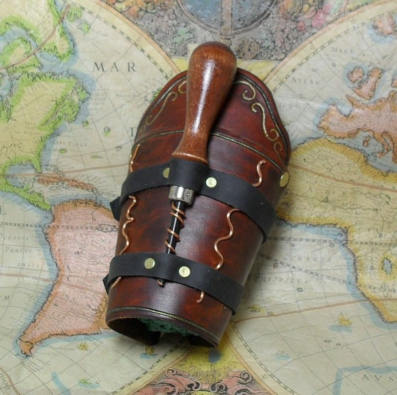 Steampunk Leather Bracer With Tools - Vambrace Gauntlet (ARM 123) RESERVED FOR castlecorsetry
