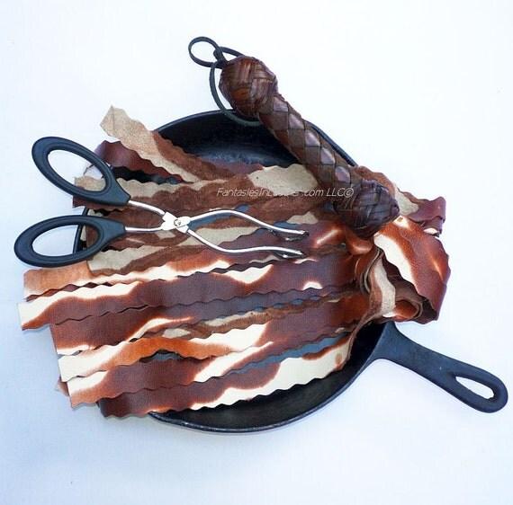 SALE - Sale - Bacon Leather Flogger Whip BDSM Kink Fetish (FLG 119)