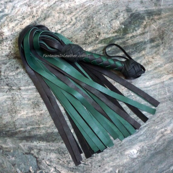 SALE Daddy Green and Black Leather Flogger Whip BDSM Kink Fetish (FLG 126)