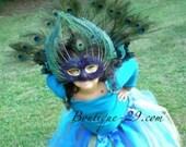 Sample Sale Custom Boutique Halloween Peacock Costume Tutu, Wings and Mask