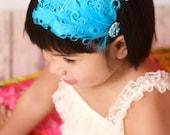 Turquoise Curly Feather Fascinator Headband