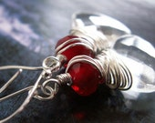Blood In The Snow... Icy Faceted Glass and Ruby Crystal Silver Earrings