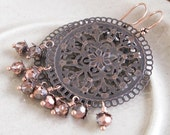 Copper Kismet... Antique Copper Filigree and Celestial Crystal Earrings