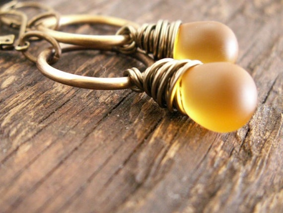 Honey... Frosted Amber Glass Drop and Brass Wire Wrap Earrings