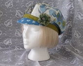 HAT, CAP, NEWSBOY, 6 PANEL, ONE SIZE, DESIGNER VINTAGE SCARVES, BLUES, GREENS