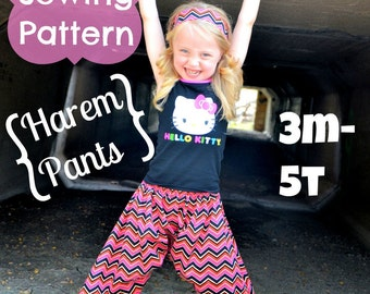 Harem Pants Pattern Tutorial by Whimsy Couture 3 months through 5t PDF Instant