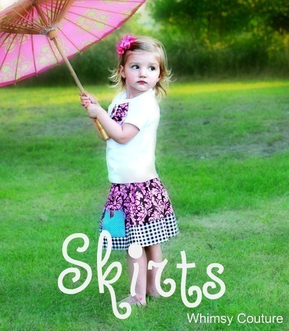 WHIMSY COUTURE Sewing Pattern Tutorial Skirts sizes 6m through 12 girls with versions for ruffle and border and block stripes PDF