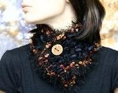 Dark Forest Neck Warmer/ Handmade Wooden Button