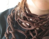 Brown Chain Textile Necklace