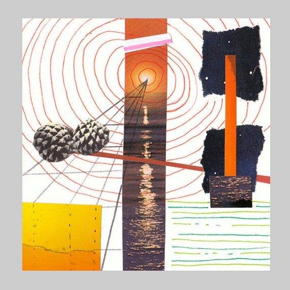 """Sunset Beach - Original Mixed Media Collage 4"""" x 4"""" on Archival Heavyweight Paper"""