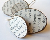 Recycled Plastic and Vintage Life Magazine TEXT OVAL Earrings ANY COLOR