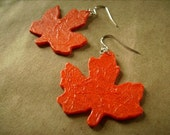 Recycled Plastic Autumn Leaf Earrings in Orange FREE SHIPPING