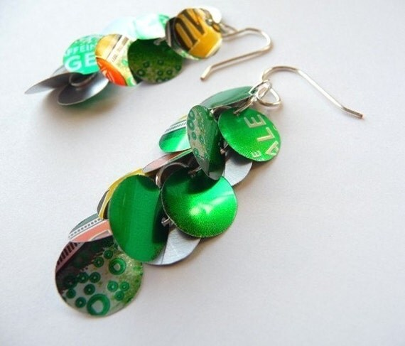 Recycled Ginger Ale Soda Can Chandelier Earrings
