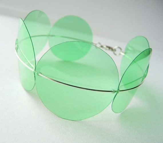 2 Liter Soda Bottle Bracelet in Transparent Green