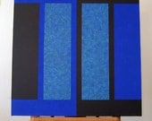 Painting COBALT and BLACK Square Retro Mod Op Art