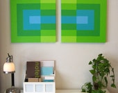 GREEN BLUE AQUA Overlapping Squares Mid Century 70's Style