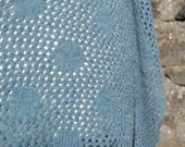 Merino Wool Polka Dot Lace Scarf in Slate/Sky Blue