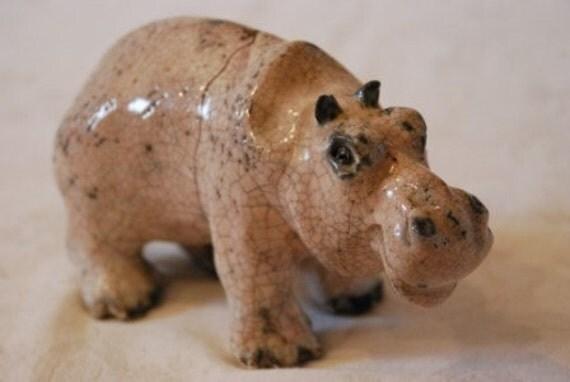 ANTIQUE VICTORIAN POTTERY HIPPOPOTAMUS HIPPO FIGURE SCULPTURE 1800's
